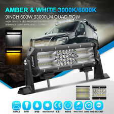 "Auto Cree 9""inch 600W LED Work/Fog Light Bar Spot Flood Combo Yellow White 3000k"
