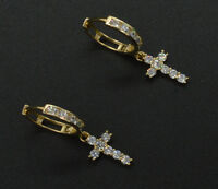 14K Yellow Solid Gold Huggie cross Round Lab Diamond Brilliant Earrings