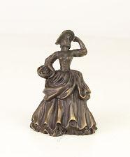 Bronze figürliche Glocke Dame / Lady mit Korb neu 99937635-dss