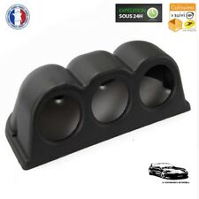 Support Emplacement 3 Manomètres en Plastique ABS Noir - Ø 52 mm - Compétition