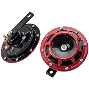2PCS 12V 115DB Electric Blast Dual Tone Horn Red Super Loud for Car / Truck New