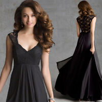 Women's Sexy Chiffon Lace Long Maxi Prom Ball Gown Evening Cocktail Party Dress