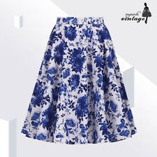 """24"""" Blue and White Floral Full Circle Skirt 50s 60s Vintage Swing"""