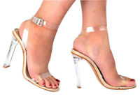 NEW WOMENS LADIES FETISH PARTY PERSPEX CLEAR STRAPPY HIGH PLATFORM STILETTO HEEL