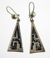 Vintage Taxco Mexico Sterling Silver Abalone Chip Inlay Triangular Earrings 925