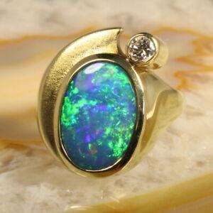Opal Ring Triplette Brillant Gold 585  11,8 Gramm  Handarbeit JB