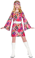 Girls Retro Go Go Girl Fancy Dress up Party Costume Halloween 60s Outfit M