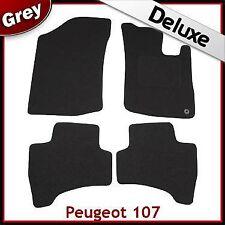 PEUGEOT 107 2005-2014 1-eyelet Tailored LUXURY 1300g Carpet Car Floor Mats GREY