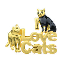 Gold Tone I Love Cats W/ 2 Cats - Kitten Lover Brooch Pin, By JADA Collections