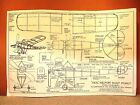 """PEANUT SCALE IDEAL NIEUPORT SCOUT FLYING MODEL AIRPLANE PLAN 13"""""""
