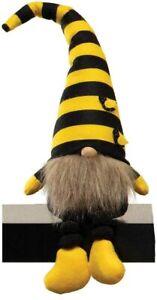 "Gnome T4173 Humble Bee Yellow Black Striped Hat Brown Beard 19"" H"