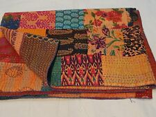 Multi Patchwork Kantha Quilt Indian Handmade Cotton Twin Size Bedspread Blanket
