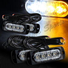 16 LED White/Amber Car Emergency Beacon Warn Hazard Flash Strobe Light Universal