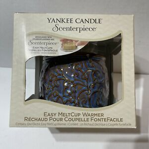 NIB Yankee Candle Scenterpiece Deluxe Easy MeltCup Wax Warmer Blue Bronze Brown