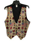 111 Main Women's Vintage USA Land of Liberty Patriotic Flag Vest Large Size