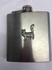 Maine Coone Cat PP-C07 English Pewter 6oz Stainless Steel Hip Flask