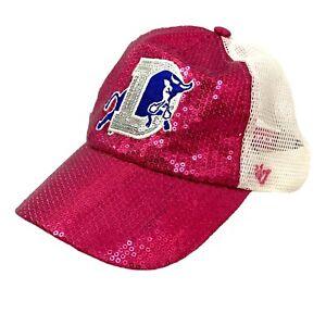 Women's Pink Sequined Mesh Baseball Durham Bulls Adjustable Hat Cap 47 Brand