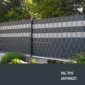 Doppelstabmattenzaun anthrazit RAL7016 mit Sichtschutz PP Stab-Matten-Zaun