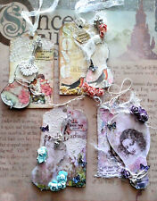 NEW UNIQUE altered mixed media tags charms flowers 3D your choice OOAK
