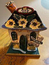 Blue Sky Clayworks Heather Goldminc Joy House Tea Light Candle Holder 2003