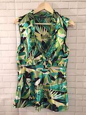 Spense Womens Crossover V Neck Sleeveless Top Green Tropical Print Career Size M