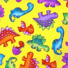 Fat Quarter Dino World Printed Cotton Quilting Fabric  Yellow