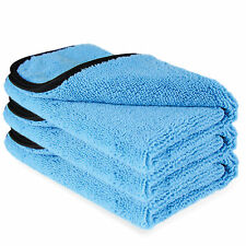 3 x Large Microfibre Towel 380gsm Satin Edged Car Wax Clean & Polish Detailing