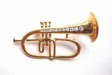 Brooch Gold Plated Trumpet Crystal Horn Pin Musical Instrument Free Shipping
