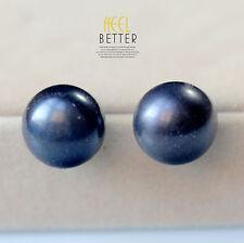 Pendientes Pulga perla cultivada Plano, liso 925 Negro 15mm-16mm ENORME