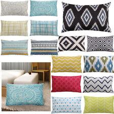 Modern Linen Cotton Pillowcase Waist Sofa Office Cushion Cover Rectangular 30x50