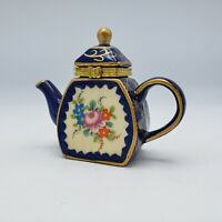 Miniature Tea Pot with Painted Flowers Trinket Box