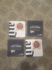 Set Of 4 Miller Lite Beer Coasters Cans Bottles Cups