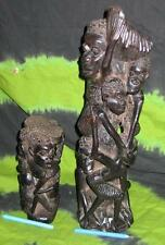 2x Ethnic WOODEN TRIBAL ujamaa STATUE AFRICAN Tree of Life ALTAR VASE MASK DOLL