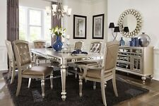 Sensational Silver Finish Dining Table Crystal Tufted Chairs Furniture Set