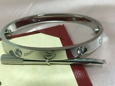 Authentic LOVE Bracelet 18K White Gold with 4 Diamonds Size 17