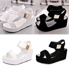 NEW Summer Women Ladies Open Toe Chunky Shoes Wedges Middle Heel Platform Sandal