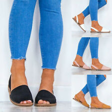 Ladies Flat Solid Sandals Peep Toe Espadrille Slingback Casual Shoes Holiday