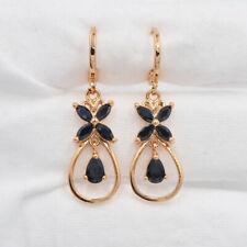 18K Yellow Gold Filled Black Flower Mystic Topaz Teardrop Drop Dangle Earrings