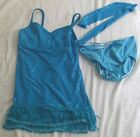CURTAIN CALL Blue Sequin Flapper Dance Costume Sz Child Large Girls L 3pc AS IS