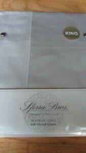 SFERRA Sheet Set King 600TC 100% Extra Long Staple Cotton Silky Sateen Gray
