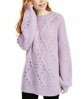 Ultra Flirt Juniors' Cable Knit Tunic Sweater - Pastel Lilac Size: S