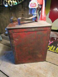 Vintage RED petrol can prop ideal mancave garage etc ROUGH