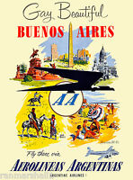 Buenos Aires Argentina South America Air Vintage Travel Advertisement Poster