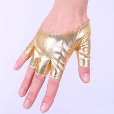 Faux Leather Fingerless Short Gloves Women Rock Gothic Punk Dance Half Gloves