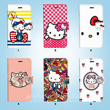 Hello Kitty Flip Wallet Cover Samsung Galaxy S3 4 5 6 7 8 Edge Note Plus 084