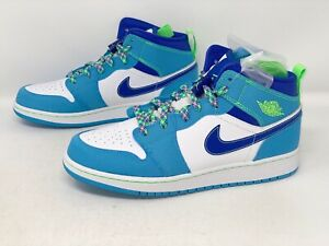 Air Jordan 1 Mid Sprite Blue Sneaker, Size 7Y / 8.5W BNIB DA8010-400