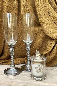 BRIGHTON CHAMPAGNE FLUTES VOTIVE CANDLE SET WEDDING TOAST PAIR CELEBRATION