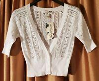 Smudge Short White Knit Sweater (Size Medium)