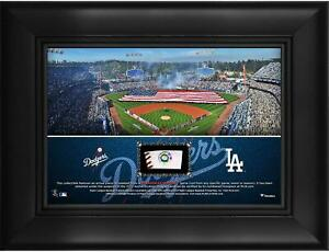 """Los Angeles Dodgers Framed 5"""" x 7"""" Stadium Collage & Piece of Game-Used Baseball"""