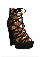 WOMEN LADIES HIGH HEEL PLATFORM GLADIATOR SANDALS FAUX SUEDE LACE UP ANKLE SHOES